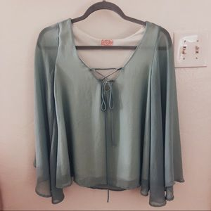 Teal Tunic Top with sheer sleeves